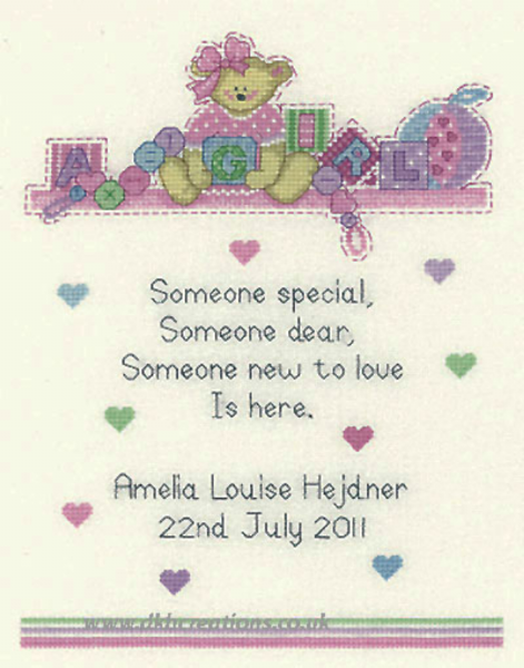 Baby Girl Birth Sampler Cross Stitch Kit